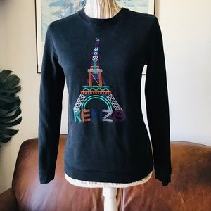 KENZO Black Eiffel Tower Cotton Sweatshirt